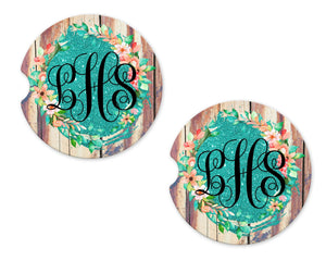 Wood Background with Glitter Floral Personalized Sandstone Car Coasters - Sew Lucky Embroidery
