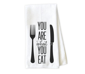You are what you eat Kitchen Towel - Waffle Weave Towel - Microfiber Towel - Kitchen Decor - House Warming Gift - Sew Lucky Embroidery