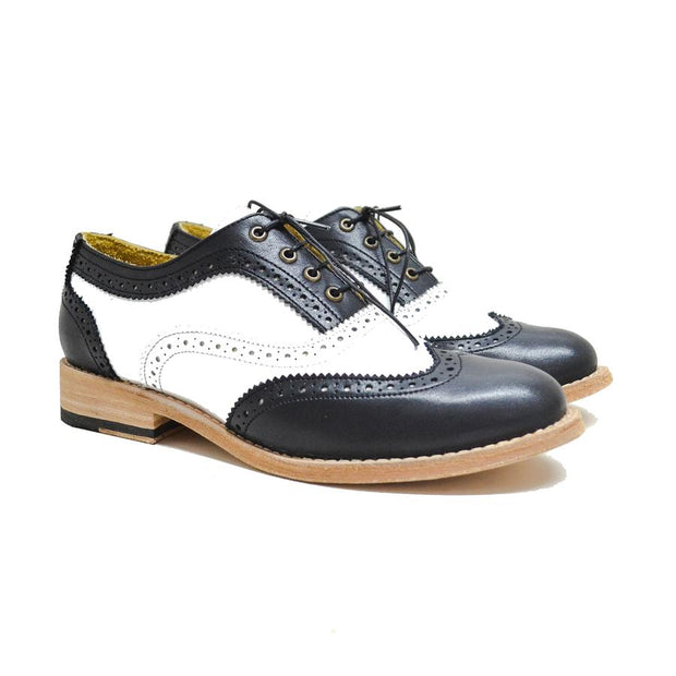 Oxford Wingtip Brogue Negro & Blanco