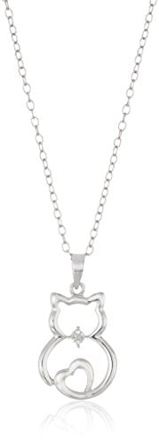 Diamond Accent Cat Necklace, Cable Chain with Spring-ring Clasp