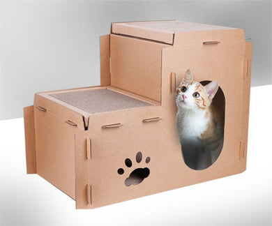 2 in 1 Design Cardboard Cat House Scratcher