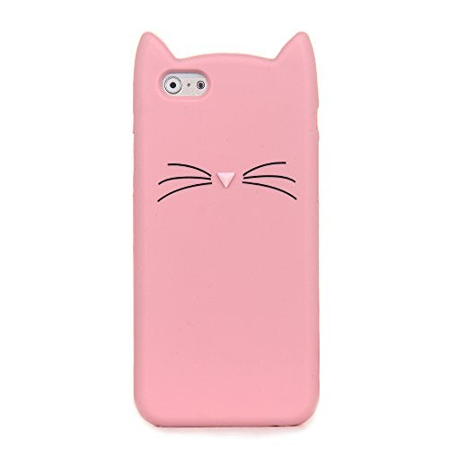 Light Pink 3D Silicone Kitty Ear and Whisker Soft Case