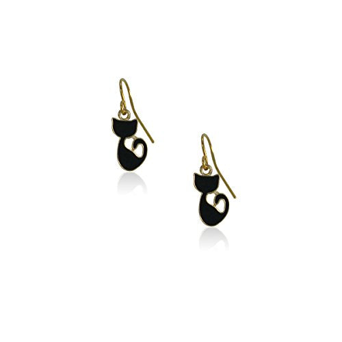 Cat Dangle Earrings, Alloy And Nickel Free, Anti-allergic