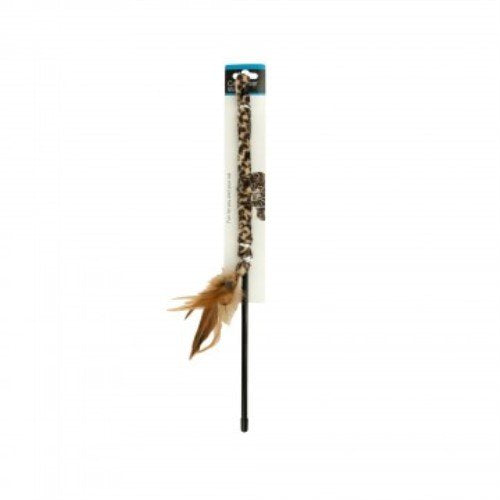 Leopard Print Teaser Wand with Feathers