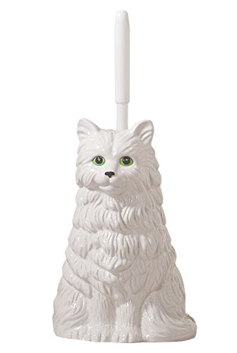 White Cat Toilet Brush Holder, Resin and Plastic