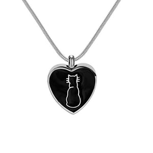 "Cat Memorial Urn Necklace Pendant ""Cat in My Heart"", 22"" Snake Chain"
