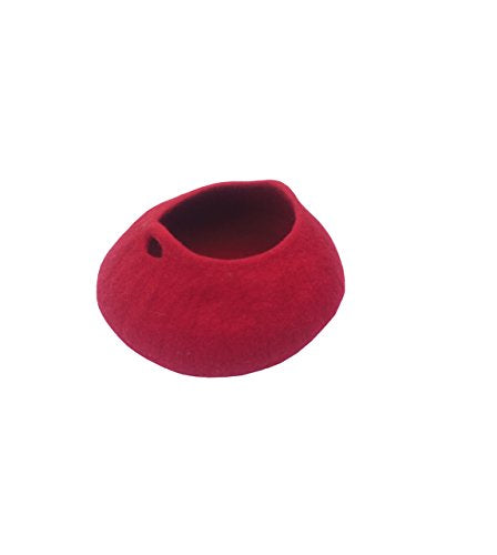 Red Handmade Durable Wool Cat Cave Bed