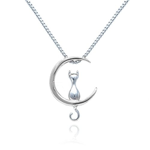Sterling Silver Cat Moon Rose Gold Necklace, Pendant size: 0.5