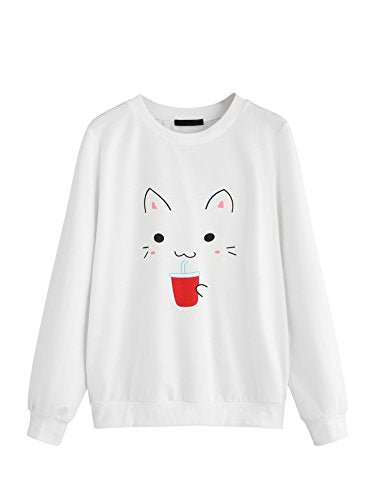 ROMWE Cute Cat Drinking Print Women's White Sweatshirt