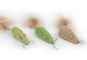 3 Blind Mice Cat Toys with Feathers, 7 x 1 x 1 inches