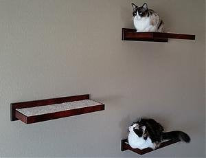 Wooden Cat Floating Wall Shelf