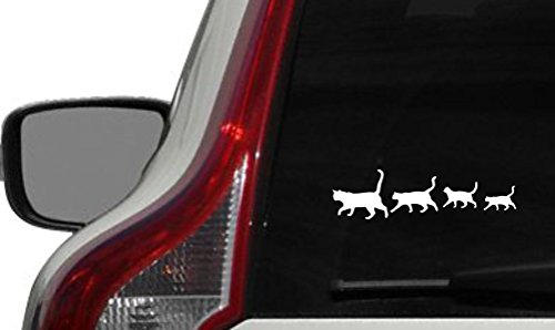 Cats Family Silhouette Car Vinyl Decal, 7.3 x 2 inches