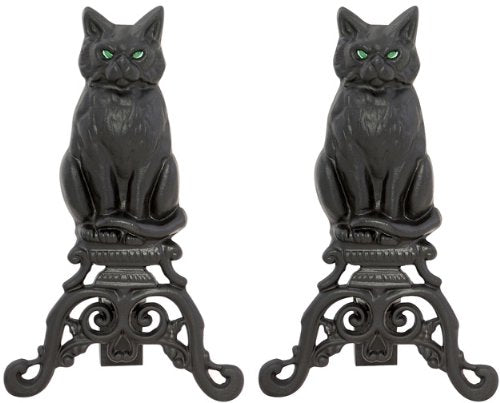 Cast Iron Cat Andirons with Reflective Glass Eyes by Uniflame, 17