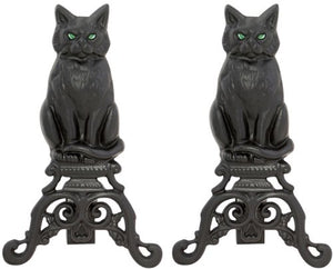 Cast Iron Cat Andirons with Reflective Glass Eyes by Uniflame, 17""