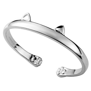 925 Sterling Silver Kitty Cat  Bracelet Jewelry Paw Ear, High Polished
