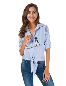 Women's Tie Front Knot Polyester Shirt Blouse with the Black Cat