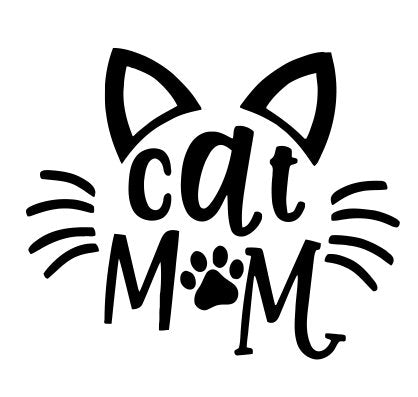 Vinyl Decal Sticker, Cat Mom, 5 x 4.1 inches