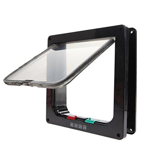 4-Way Lockable Cat Interior Black Flap