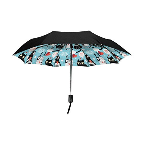 Inside Cute Black and White Cats Outer Black Umbrella