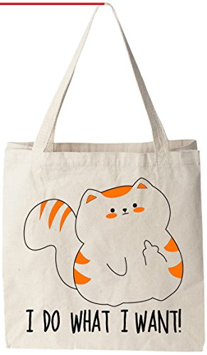 I Do What I Want - Orange/White Cat Print Tote Bag