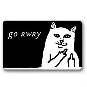 Short Plush Material Go Away Cat Printed Doormat by Burning Love