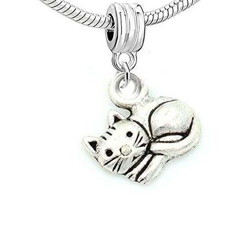 Curled up Cat Charm Bead Compatible Bracelets, Material: Zinc Metal Alloy