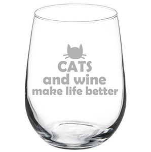 Stemless Wine Glass Funny Cats and Wine Make Life Better 17 oz