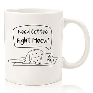 White Funny Cat Design Coffee Mug by Wittsy