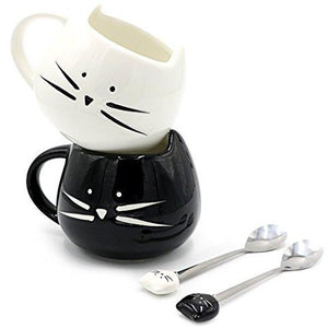 Black and White Cat Coffee Mugs by Teagas, Semi Handmade