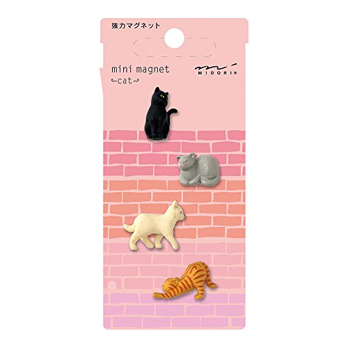 6 Pcs of Colored Midori Mini Cat Magnets