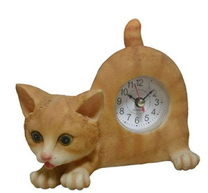 Orange Tabby Cat with Wagging Tail Desk Clock, 7.1 x 7 x 4 inches