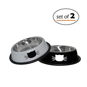 Stainless Steel Cat Dish 8 Ounce, Black / Gray