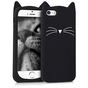 Cat Shape Design SE / 5S Black iPhone Shock-absorbing Cover Case
