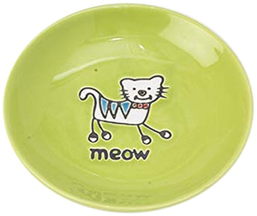 Silly Kitty Saucer, 100% Stoneware, Lime Green