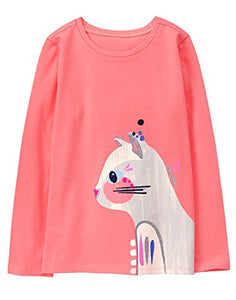 Long Sleeve Coral Cat Graphic Tee for Little Girls'