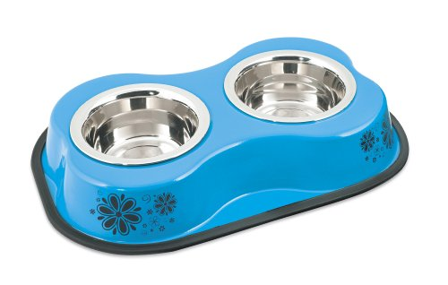 Steel Double Diners Pet Bowl, 1-Pint