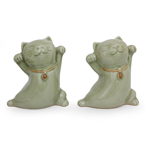 Handmade Celadon Ceramic Happy Cats Statuettes
