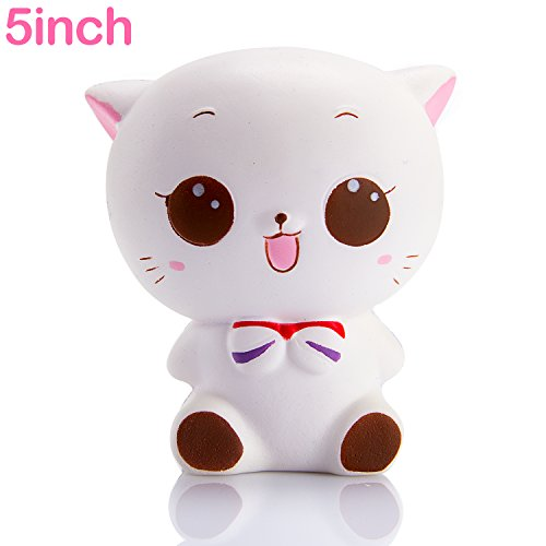 Kawaii White Cat Toy, 5 x 4 x 3 inch
