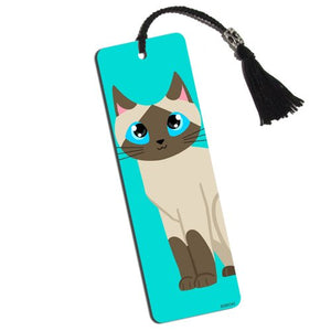 Siamese cat Bookmark with Tassel, Laminated Paper