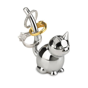 Zoola Fat Cat Shaped Chrome Ring Holder by Umbra
