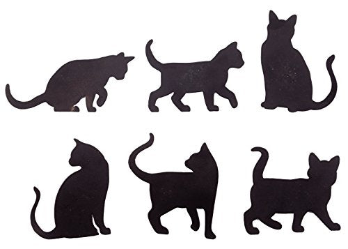 Cat Silhouette Fridge Magnets, Durable Metal