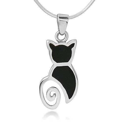 Inlay Cat Lover Enamel Pendant Necklace by Chuvora