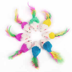 5 Mice Toys with Feathers for Cats
