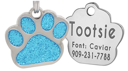 Laser Engraving Glitter Paw Pet ID Tags (Turquiose)