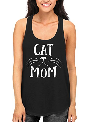 Cat Mom Print Women's Tank Top, Black