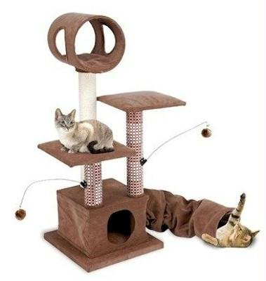 Cat Tree and Scratching Post with Tunnel and Toys
