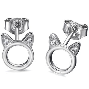 Circle Earrings Feature Cubic Zirconia Cat Ears