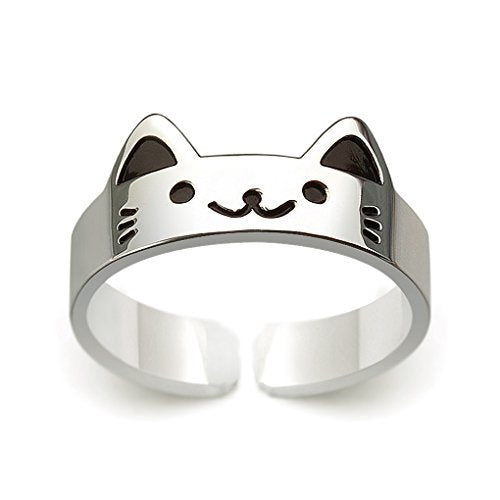 Cat Face Design Ring, Height 8 mm