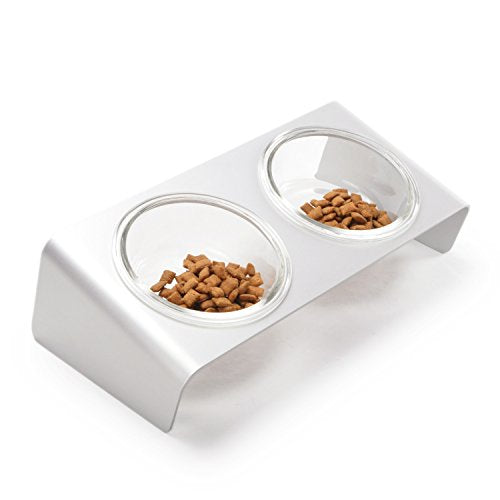 Elevated Cat Feeder With Glass Bowls