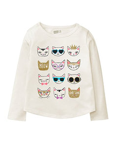 Toddler Girls' Long Sleeve Graphic Tee with Cat Faces Print